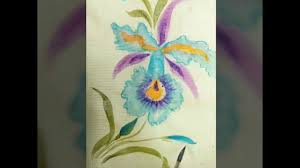 diy how to paint orchid wet on wet acrylics easy demonstration fabric painting