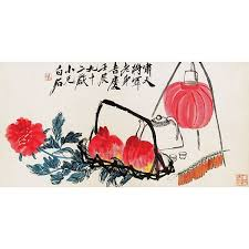 qi baishi 1864 1957 peaches and fire ers ink and colour on paper