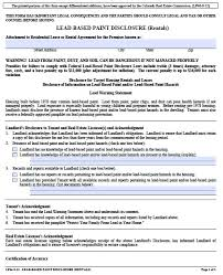 Free Colorado Lead Based Paint Disclosure Form – Pdf Template
