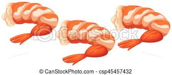 cooked shrimp clip art. Perfect Clip Three Cooked Shrimps On White Background  Csp45457432 For Cooked Shrimp Clip Art K