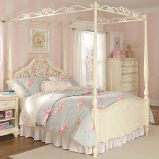 Full Size White Metal Canopy Bed Frame With Heavy Duty Steel Slats ...