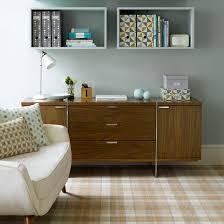 symmetrical floating shelves in smart living room