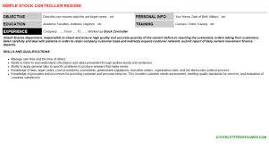 Stock Controller Cover Letter Resume 113356