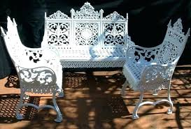 white iron garden furniture. Wrought Iron Outdoor Chairs White Cast Garden Furniture Home Designing Chair Bench S