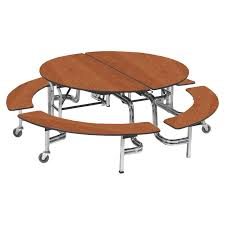 round chrome frame bench style cafeteria table