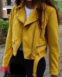 zara bloggers mustard yellow faux suede zip biker jacket coat 6318 022 xs s m l