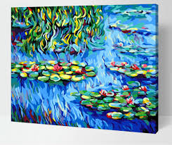 frameless diy oil digital painting by numbers abstract drawing lotus pond world famous canvas paintings