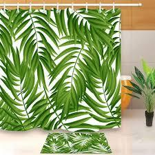green leaf pattern tropical palm leaves shower curtain bath mat water fabric