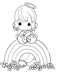 Small Picture Rainbow and angel coloring page Free Printable Coloring Pages