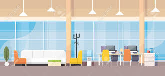 bank and office interiors. Modern Bank Office Interior Workplace Desk Flat Design Vector Illustration Stock - 55961067 And Interiors G
