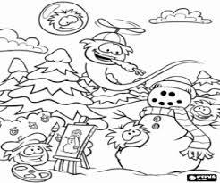Kleurplaat De Puffles En De Sneeuwpop Kleurplaten
