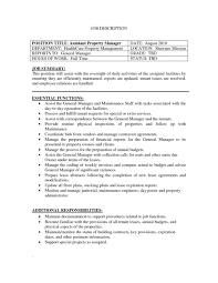 Property Manager Job Description For Resume Assistant Property Manager Job Duties Resume Cover Letter Template 1