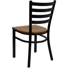 hercules black ladder back metal restaurant chair with cherry wood seat