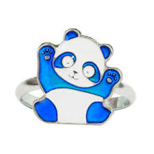 Details About Cute Panda Color Change Kids Mood Ring Adjustable Size Free Chart Box