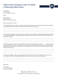 Letter Of Offer Template Free Real Estate Offer Letter Template Fortunebuilders