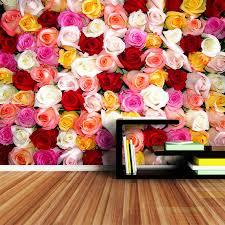 Shinehome Rood Paars Rose Blossom Romantische Bloemen Behang Voor 3d