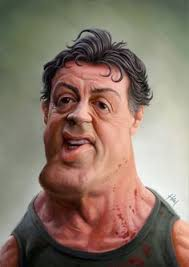 sylvester sly stallone by tiago hoisel caricature cartoon portrait drawing face stylized