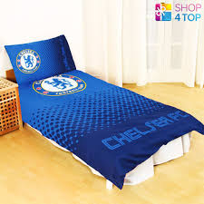 chelsea fc fade crest blue duvet set single bed cover bedding official football