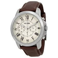 mens fossil watch leather fossil grant chronograph egg shell dial brown leather mens watch fs4735