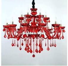 red crystal chandelier with ruby and
