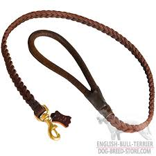 designer walking leather dog leash for bull terrier with handle