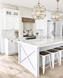 white kitchen light wood floor.  White White Kitchen Design With Natural Wood Floors And Gold Pendant Lights With White Kitchen Light Wood Floor N