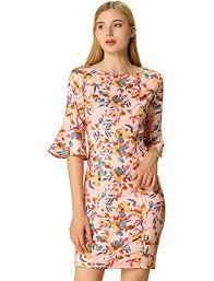 Allegra K Clothing Size Chart Allegra K Womens Work Office Boat Neck Bell Sleeve Floral Sheath Dress