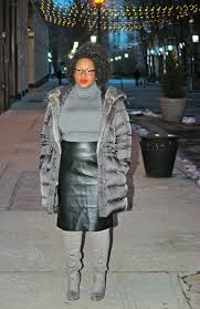office style leather skirt and suede otk boots