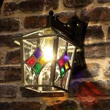decorative stained glass outdoor wall lantern