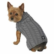 Petrageous Designs Dog Sweater Petrageous Designs Dog Sweater Gray Cable Knit Large