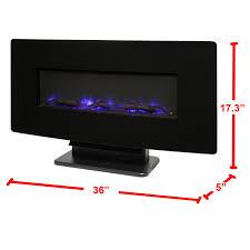 muskoka 36 curved wall mount electric fireplace black glass
