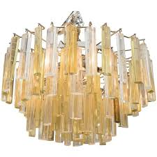 vintage three tier chandelier with clear and gold glass prisms by venini