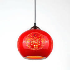 red ceiling light red ceramic hollow shade oriental pendant lights within plan 5