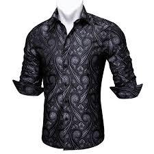 Black Designer Dress Shirt Us 25 19 30 Off Barry Wang Black Paisley Floral Silk Shirts Men Autumn Long Sleeve Casual Flower Shirts For Men Designer Fit Dress Shirt Bcy 04 In