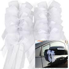 10x noeud papillon ruban satin tulle décoration voiture de mariage 057