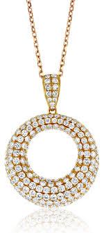 pave diamond circle rose gold necklace