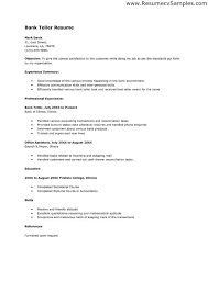 Form Of Resume Sample How To Make A Resume For Bank Teller Job