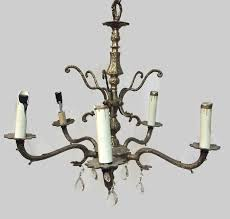 vintage spanish brass crystal chandelier 5 light arm tier 1 of 4only 1 available