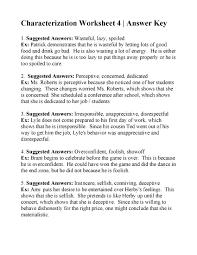 Characterization Worksheet 4   Answers