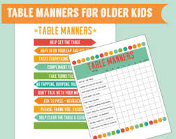table chart for kids. Table Manners For Older Kids Set Of 2 Digital Printables Chart Printable Learning A