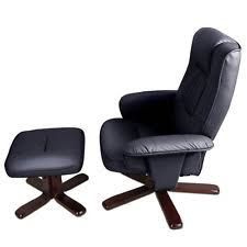 office recliner chair. pu leather lounge office recliner chair ottoman black