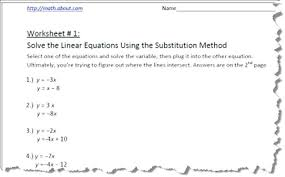 systems of equations by substitution worksheets simultaneous linear quadratic and worksheet tes
