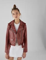 faux leather biker jacket with belt