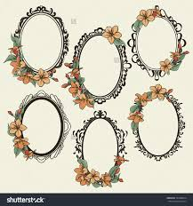 antique oval mirror frame. 1500x1600 Stock Vector Set Of Vintage Oval Frames Decorated With Flowers And Antique Mirror Frame E