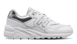new balance 580. nb 580 new balance, white with metallic silver balance