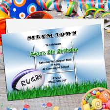 8th Birthday Party Invitations 10 Personalised Rugby Birthday Party Invitations N72