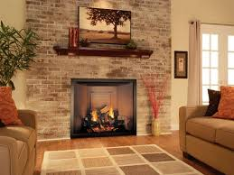 awesome corner fireplace small living room beige tile pattern brick wall fireplace beige gingham fabric rug