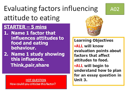 evaluating factors influencing attitude to eating a starter  evaluating factors influencing attitude to eating a02 starter 5 mins 1 1 factor