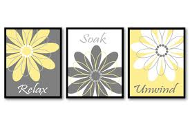 zoom on wall art prints for bathroom with bathroom wall art yellow grey gray white daisy flower print