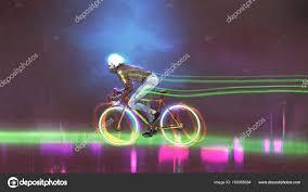 Bike Neon Lights Man Riding Mountain Bike Neon Lights Wheels Night Digital